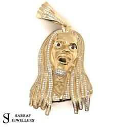375 9ct Yellow Gold Bob Marley Icy Shine Shiny Bling Rapper Pendant 36.6gr New