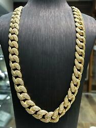 Curb Cuban Chain 925 Sterling Silver Gold Plated 12mm Wide Solid Menand039s 117gr 24