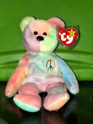 Ty Beanie Baby   Original Peace Bear   Collectible   Tag Protector