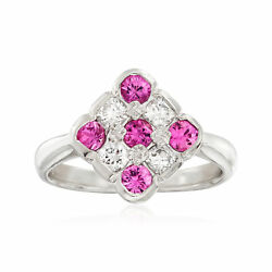 Vintage Pink Sapphire And Diamond Checkerboard Ring In Platinum Size 6