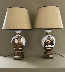 Mid Century Pair Modern Milk Glass Gold Details Lamps Possibly Tommi Parzinger
