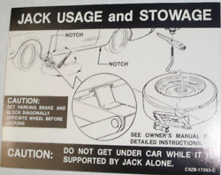 Ford Jack Usage And Stowage Caution Is Made Exactly Like Ford 78