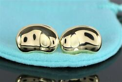 4200 And Co Elsa Peretti 18k Solid Yellow Gold Large Bean Men's Cufflinks