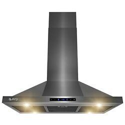 """36"""" Island Mount Black Stainless Steel Kitchen Range Hood With Touch Panel"""