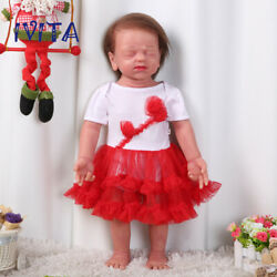 Ivita 22'' Silicone Reborn Dolls Eyes Closed Girl Root Hair Baby With Skeleton