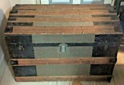 Round Top Steamer Trunk Wood And Metal