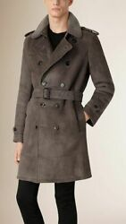 London Double Breasted Shearling Real Fur Lined Trench Coat Size 50