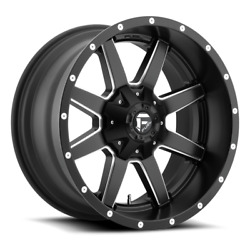 4 24x12 Fuel Black And Milled Maverick Wheel 5x139.7 5x150 For Ford Jeep Gm