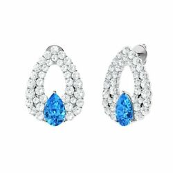 Certified 3.66 Ct Blue Topaz And Diamond Chandelier Earring In 14k Solid Gold