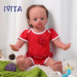 Ivita 22'' Full Silicone Reborn Dolls Root Hair Baby With Skeleton Girl Toy Gift