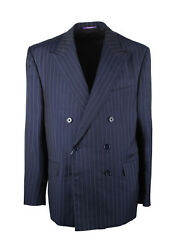 New Purple Label Double Breasted Suit Size 56 / 46r U.s. In Wool