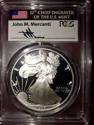 Silver Eagle DATE RUN PF70 DCAM 1986-2019 with the 1995 W - MERCANTI FLAG LABEL