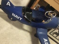 Pedal Car Airplane SCARCE US NAVY A22  BELT DRIVEN PROP All Metal Wow CHRISTMAS