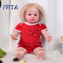 Ivita 22'' Realistic Silicone Reborn Doll Blond Hair Baby Girl With Skeleton Toy