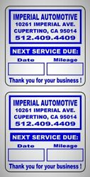 Custom Oil Change Reminder Stickers Premium Synthetic Stock Removable Adh 2x 2