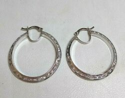 9ct White Gold Creole Hoop Cz Large Earrings Not Filled Or Plated Real Gold