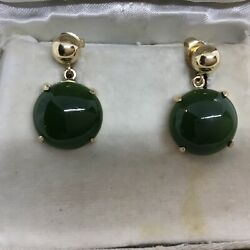 Estate 14kt Gold And Jade Earrings From Taiwan 1940and039s