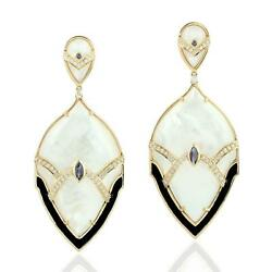 49.62ct Natural Iolite Dangle Earrings 18k Yellow Gold Jewelry