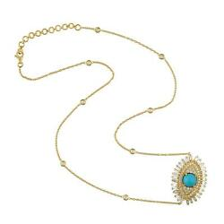 Baguette Diamond Turquoise Princess Necklace 18k Yellow Gold Jewelry