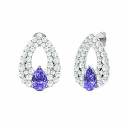 Certified 3.66 Ct Natural Tanzanite And Diamond 14k Solid Gold Chandelier Earring