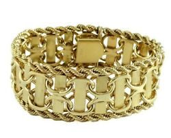 Chunky Wide Solid 14k Bracelet Satin And Polished Finish Ca. 1960 48.5 Grams