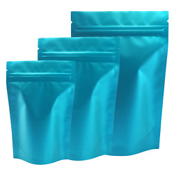 100 Resealable Matte Blue Metallized Foil Stand-up Food Grade Pouches Bags