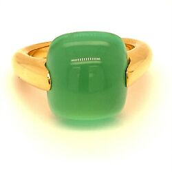 Cats Eye Green Calcite 14.00ct 18k Solid Gold Ring Natural Size 8.5  10.62g