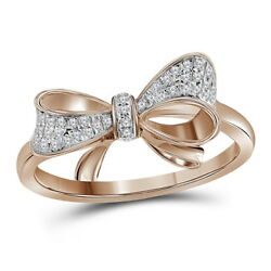 1.03ct Natural Round Diamond 14k Solid Rose Gold Wedding Bow Ring