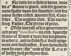 1611 King James Bible Leaf - Isaiah 9 Unto Us A Child Is Born... The And039heand039 Bible