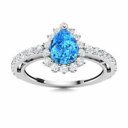 Pear Cut Natural Blue Topaz And Si Diamond Halo Engagement Ring 14k White Gold