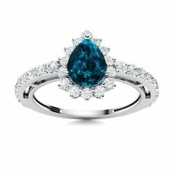 Pear Natural London Blue Topaz And Si Diamond Halo Engagement Ring 14k White Gold