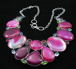 925 Silver Plated Pink Agate And Multi Gemstone Necklace Fashion Jewelry - 3001