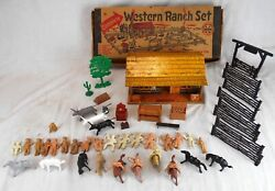 Marx Toys Western Ranch Set W/lots Of Accessories And Original Box
