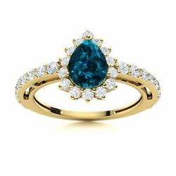 Pear Natural London Blue Topaz And Si Diamond Halo Engagement Ring 14k Yellow Gold