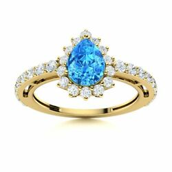 Pear Cut Natural Blue Topaz And Si Diamond Halo Engagement Ring 14k Yellow Gold