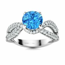 1.76 Ct Natural Blue Topaz And Si Diamond Cocktail Engagement Ring 14k White Gold