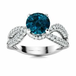 1.76 Ct London Blue Topaz And Si Diamond Cocktail Engagement Ring 14k White Gold