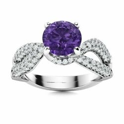 1.76 Ct Natural Amethyst And Si Diamond Cocktail Engagement Ring 14k White Gold