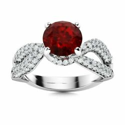 1.76 Ct Natural Red Garnet And Si Diamond Cocktail Engagement Ring 14k White Gold