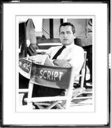 Beautiful Rare Numbered Black And White Photo Paul Newman On Set Reading Newspaper