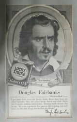 Lucky Strike Ad Actor Douglas Fairbanks From 1928 Size 10 X 17 Inches