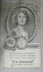 Lucky Strike Ad Met Opera Diva Frances Alda From 1928 Size 10 X 17 Inches