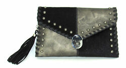 Savana Pewter Faux Leather Ladies Pewter Clutch Hair On 10x6.5x2 $55.99