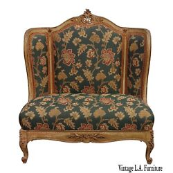Vintage French Provincial Louis Xvi Rococo Ornate Gold Floral Settee W Red Plaid