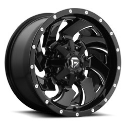 4 22x10 Fuel Gloss Black And Mill Cleaver Wheel 6x135 And 6x139.7 For Ford Jeep