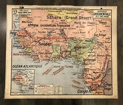 Vintage Large French School Map Africa And Guyane-antilles vidal-lablache N37