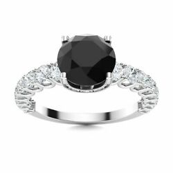Certified Natural Black Onyx And Diamond Engagement Ring In Solid 14k White Gold