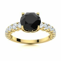 Certified Natural Black Onyx And Diamond Engagement Ring Solid 14k Yellow Gold