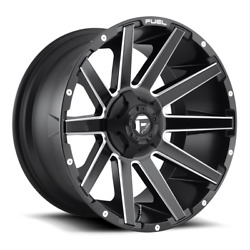 4 22x12 Fuel Matte Black And Milled Contra Wheel 6x135 6x139.7 For Ford Jeep