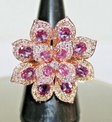 1.89ct Natural Round Diamond 14k Solid Yellowgold Tourmaline Cluster Ring Size 7